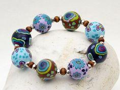 bracelet, fimo, beads, Waldsee  handgefertigtes Armband aus Polymer Clay von polymerdesign