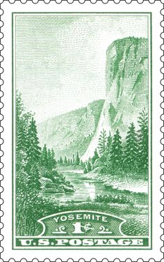 The 1934 stamp depicts one of the most iconic natural features of Yosemite National Park, El Capitan.
