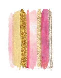 Girly Glitter Lipstick Print / Pink and Gold by MadKittyMedia