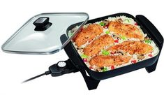 Proctor Silex 38526 Electric Skillet Nonstick cooking surface Adjustable heat Cool-touch handles Dishwasher safe glass lid Dishwasher safe o wide (including handles and probe), (without probe) or (without handles or probe) Kitchen Pans, Kitchen Tools, Kitchen Gadgets, Kitchen Dining, Kitchen Utensils, Kitchen Gifts, Open Kitchen, Kitchen Ideas, Best Electric Skillet