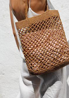 Raffia Net Bag Crochet Raffia Tote Summer Tote Bag Straw | Etsy Crotchet Bags, Bag Crochet, Crochet Market Bag, Knitted Bags, Summer Tote Bags, Diy Tote Bag, Filet Crochet, Bag Pattern Free, Net Bag