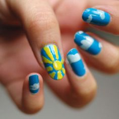 Sunny day nails...  (or to cheer up a rainy day)
