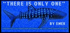 limited edition silkscreen on crazy blue metallic paper.. with a few glow inks... all of this whale shark's spots are Earths... but there is only one.. so take care of it... (text does not appear on actual silkscreen) in support of Pangea Seed