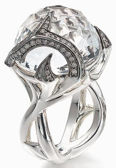 Stephen Webster's Fierce Rapture Ring in Sterling with Clear Quartz Stone and White-Diamond pavé 995.00 USD at Donoho's Jewellers.