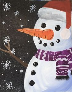 Create your very own snowman painting! Tracie will guide you through the techniques ONLINE for creating your own acrylic painting of a snowman. Christmas Paintings On Canvas, Christmas Canvas, Christmas Art, Snowmen Paintings, Winter Painting, Time Painting, Winter Art, Happy Paintings, Great Paintings