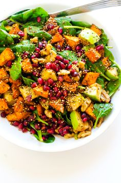 This Sweet Potato, Pomegranate & Crispy Quinoa Salad is a delicious and healthy meal that is perfect for company. Gluten Free & Vegan