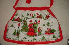 Vintage Christmas Noel Holiday Apron w/ Carolers