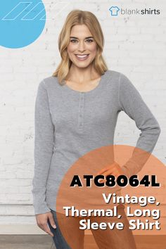 Stay cozy and comfortable with the ATC8064L. The perfect shirt for layering with your favourite fall coat! Comes in Ladies and Men's sizing! 9.8-oz, 60/40 cotton/polyester waffle knit Combed and ring spun cotton Taped neck Tear away label *50/50 cotton/polyester Due to the nature of thermal fabric, special care must be taken throughout the decoration process. T Shirt Company, Thermal Long Sleeve, Henley Shirts, Waffle Knit, Spun Cotton, Layering, Long Sleeve Shirts, Label, Cozy