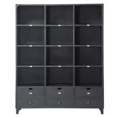 Zwarte metalen industriële boekenkast B 160 cm