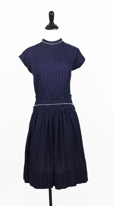 50s Dress / Polka Dot Dress / Drop Waist / by vintagedivineshop, $90.00