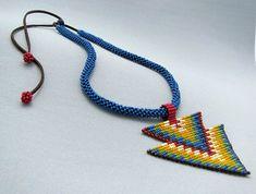 Seed Beaded Necklace Art Jewelry Double by HANWImedicineArt