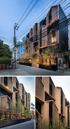 Modular gabled sections made from wood cover the facade of this modern apartment building in Bangkok, Thailand. facade Octane Architect & Design Have Completed A Thai Apartment Building With Gabled Accents Architecture Building Design, Building Facade, Building Exterior, Building Ideas, Architecture Images, Design Exterior, Facade Design, Modern Exterior, Modern Apartment Design