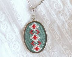 Cross stitch necklace with Ukrainian embroidery n067 by skrynka