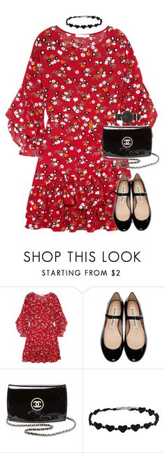 """""""Flora"""" by xoxomuty ❤ liked on Polyvore featuring Maje, Acne Studios, Chanel, Daniel Wellington and polyvoreOOTD"""