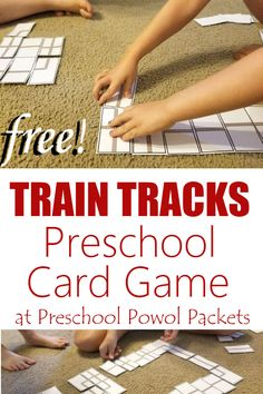This train track card game is perfect for preschoolers and older kids! It would go with a train theme or transportation theme wonderfully too! Train Crafts Preschool, Trains Preschool, Transportation Theme Preschool, Preschool Games, Train Games For Kids, Games For Toddlers, Steam Activities, Fun Activities For Kids, Book Activities