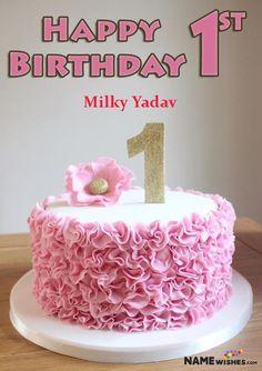 Happy Birthday Cake Girl, Baby Birthday Wishes, Birthday Cake Write Name, Elsa Birthday Cake, Birthday Cake With Photo, Birthday Cake Writing, Themed Birthday Cakes, First Birthday Cakes, Themed Cakes