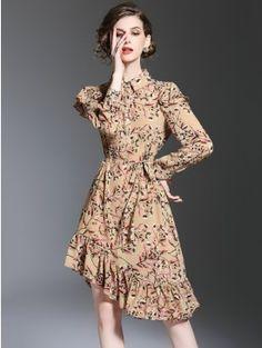 Apricot Print Floral Button Cuff Ruffle Hem Tie Waist Asymmetric Midi Dress