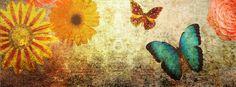 Fall flowers, Autumn images, butterflies Facebook Cover