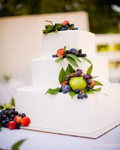 Mixed fruits and bay leaves adorn this red velvet and dark chocolate  #Wedding Cake ... Wedding ideas for brides, grooms, parents & planners ... https://itunes.apple.com/us/app/the-gold-wedding-planner/id498112599?ls=1=8 … plus how to organise an entire wedding, without overspending ♥ The Gold Wedding Planner iPhone App ♥