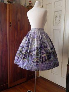 Vintage 1950s skirt / 50s  full skirt / Novelty /  by ShowStopper