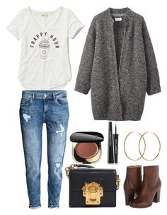"""Toast knitted tweed coat"" by thestyleartisan ❤ liked on Polyvore featuring Hollister Co., H&M, Toast, Pernille Corydon, Frye and Dolce&Gabbana"