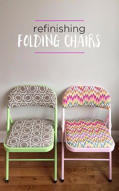 DIY Seating Ideas - Refinish Folding Chairs - Creative Indoor Furniture, Chairs and Easy Seat Projects for Living Room, Bedroom, Dorm and Kids Room. Cheap Projects for those On A Budget. Tutorials for Cushions, No Sew Covers and Benches http://diyjoy.com/diy-seating-chairs-ideas #ChairCushions