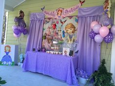 Sofia The First Birthday Party. Cake table Created and decorated by Amber Rollins Princess Sofia Birthday, Sofia The First Birthday Party, Pink And Gold Birthday Party, Frozen Birthday Theme, First Birthday Party Decorations, Disney Princess Party, Little Girl Birthday, 3rd Birthday Parties, 2nd Birthday