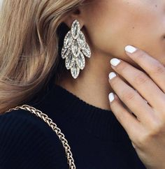 Jewels: earrings white nails nail polish statement earrings wedding accessories diamonds