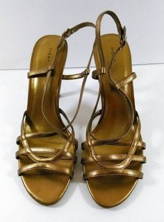FIONI Gold Strappy Sandals Heels Dressy Ladies Size 9.5 GUC #Fioni #AnkleStrap #SpecialOccasion