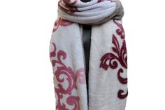 Floral scarf/stole/ white scarf/ maroon scarf/ muffler/ large