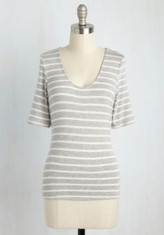 Inside Scoop Top in Heather Grey - Grey, Grey, Work, Casual, Nautical, Fall, Better, Exclusives, Private Label, Scoop, Knit, Mid-length