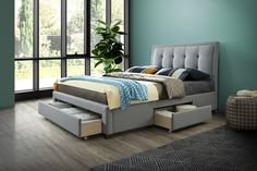 The Shelby Grey Fabric 3 Drawer Storage Bed combines stylish statement furniture with discrete storage solutions to ensure your bedroom is stunning and storage-savvy. Featuring a generous amount of under-bed space and a beautiful exterior, Shelby Grey Velvet Upholstered Bed, Upholstered Bed Frame, Bed Frame With Headboard, Bed Frame With Mattress, Bed Frame With Drawers, Bed Frame With Storage, Ottoman Storage Bed, Bed Storage, Drawer Storage