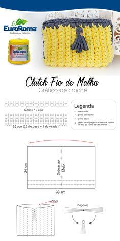 Lindíssima Clutch desenvolvida com o EuroRoma Fio de Malha nas cores amarela e cinza.