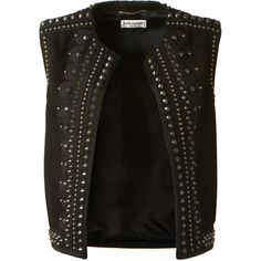 Saint Laurent Sleeveless Embroidered Waistcoat In Black Studded Suede ($1,680) ❤ liked on Polyvore featuring outerwear, vests, jackets, vest, waistcoat vest, sleeveless vest, suede vest, studded vest and suede leather vest