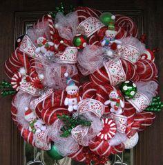 Deco Mesh CHRISTMAS SNOWMEN WREATH by decoglitz on Etsy