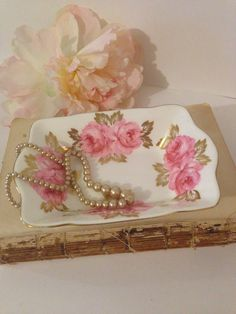 Shabby Chic Small Dish Royal Chelsea English Bone China Pink Roses Gold Leaves and Trim, Wedgwood Group China, Ring Dish, Dresser Top Vanity by ThePokeyPoodle on Etsy