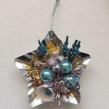 Vintage Christmas Aluminum Reflector Cotton Spun Mercury Glass Tinsel Ornament