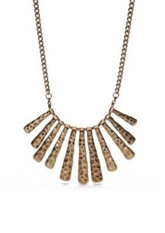 Ruby Rd  Gold-Tone Hammered Stick Drop Necklace
