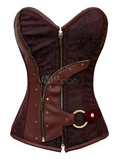 Corsetto rosso scuro sexy modellante damascato di poliestere chiodato due pezzi - Milanoo.com