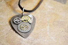 Steampunk Guitar Pick Necklace  OOAK  Metal Guitar by Keytiques, $38.00