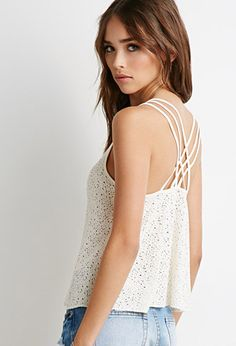 Crisscross-Back Distressed Cami   Forever 21 - 2000096148