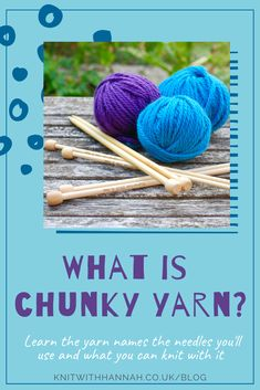 Well the question could also be, what is bulky yarn? or what is craft yarn? You'll learn five things about chunky yarn to help you when substituting. And find out my favourite patterns for knitting with chunky yarn. Knitting Needles, Knitting Yarn, Rug Yarn, Yarn Store, Types Of Yarn, Chunky Yarn, Crochet Projects, Helpful Hints, Wool