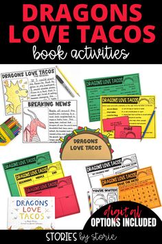 Do your students love to read Dragons Love Tacos? Here are some activities you can pair with the book. You'll find comprehension questions, vocabulary practice, graphic organizers, a taco craft, dragon directed drawing, and more!