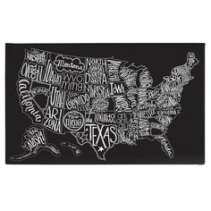 Buy your Black Tie US Map Canvas Wall Art by BasicGrey here. Geography never looked so cool. SIZE: 50 x Gallery-wrapped canvas wall art. Why we love BasicGrey Map Canvas, Canvas Wall Art, Eclectic Artwork, Les Continents, Map Wall Art, Map Art, Us Map, We Are The World, Basic Grey