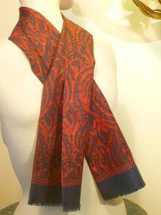WoW''' LoNG Men ScARF PAISLEY Blue & Red  Vintage 1950 1960 Gentleman suit tie silk Choker Jacket Suit Madmen Rockabilly Vlv Mods de la boutique FeverVintage sur Etsy