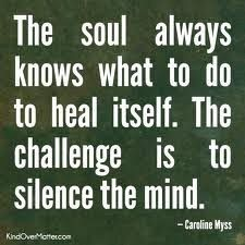 The soul always knows what to do to heal itself.  The challenge is to silence the mind.   - Carolyn Myss
