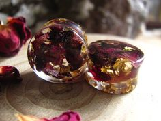 Red Rose and 24K Gold Ear Gauges, Botanical Ear Plugs, Flower Stretchers, Ear Weights, Gift For Her, Romantic Plugs, Rose Gauges
