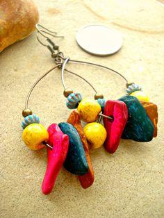 African Earrings  Boho Earring  Hippie Earrings by HandcraftedYoga, $23.00