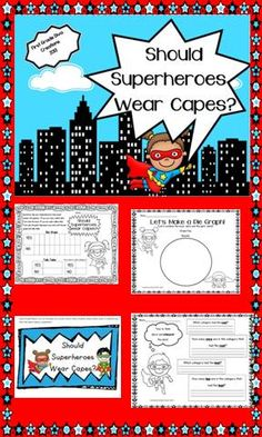 "$ Children of all ages love superheroes! This lesson is a great addition to your ""Back to School Superhero"" theme this fall or a compliment for ""Zero the Hero"" and ""100th Day"" activities later in the year. *Images of super hero are copyrighted by Pink Cat Studios.*"
