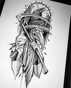 Dark Art Tattoo, Gothic Tattoo, Raven Tattoo, Evil Tattoos, Creepy Tattoos, Black Tattoos, Skull Sleeve Tattoos, Body Art Tattoos, Tattoo Design Drawings